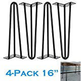 Haarnadel-Beine aus schwarzem Stahl, mittlere Jahrhundert, modern, 3 Stangen, 4 Stück, strapazierfähige Metallfüße für Couchtische, Möbelbeine, Heimwerker-Projekt