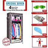 #5: 2.1 Feet Single Section Portable Dust & Water Proof Wardrobe Creative Printed Cabinet,Easy Installation Folding Wardrobe Cupboard Almirah Foldable Storage Rack Collapsible Cloths Organizer With Shelves Washable Cover ,Royal Black Gold Plaid ( Festival Offer- 4 items FREE with this product) (Color as available)