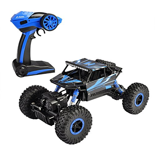 szjjx RC Rock Geländewagen 2.4 GHz 4 WD High Speed 1: 18 Racing Cars RC Cars Fernbedienung Radio Control Cars elektrische Rock Crawler Elektro Buggy Hobby Auto Schnell Race Crawler – Blau (Rc-elektro Buggy Racing)