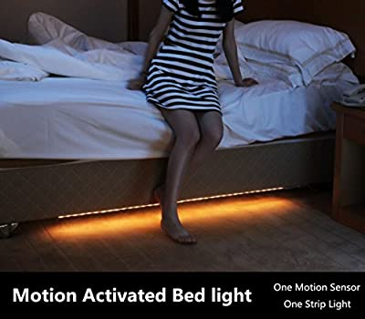 Amagle Motion Activated Bed Light , 1.2M Flexible LED Strip Night Illumination with Automatic Shut Off Timer Sensor for bedroom,cabinet,stairs - cheap UK light store.