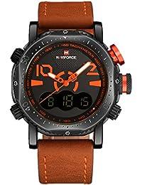 Naviforce reloj de Hombre Clásico Deporte Militar analógico Digital cuarzo reloj con correa de piel (naranja)