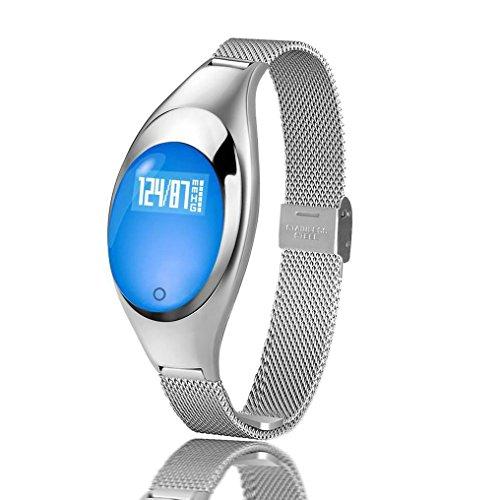 Smart watch Z18, JIAMEIYI Smartband Smart Armband Blutdruck und Blut Sauerstoff Modus mit Fitness Tracker Herzfrequenz Modus Täglich wasserdichtes Bluetooth empfindliches Smartwatch Ideales Geschenk für Frauen(Silber)