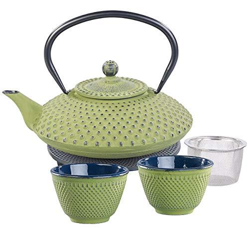 Asiatisches Teeset: Asiatische Teekanne, Untersetzer und 2 Becher aus Gusseisen, olivgrün (Tee-Sets Geschenk) ()