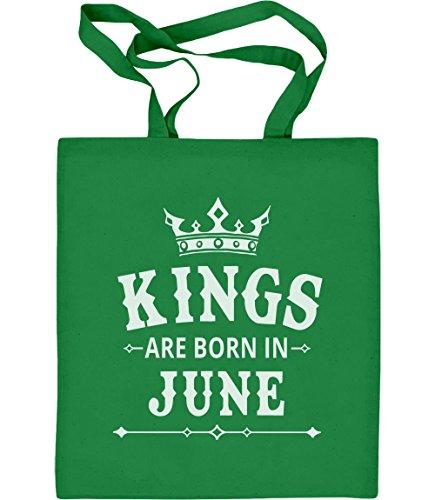 Juno Tote (Geschenk für den Mann - Kings are born in Juni Jutebeutel Baumwolltasche One Size Grün)