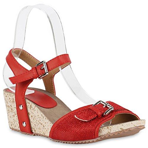 Damen Sandaletten Glitzer | Keilsandaletten Schnallen | Bast Wedges Muster  | Plateauschuhe Keilabsatz | Party Abiball