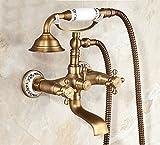 Rozin teléfono estilo bañera grifo w/cerámica alcachofa de ducha soporte de pared antiguo latón ducha grifo de la bañera, R1279