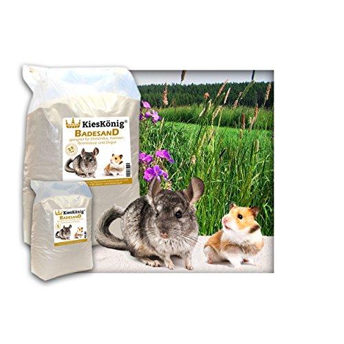 Premium Badesand für Chinchillasand, Hamster, Rennmäuse und Degus - samtweiche abgerundete Körnung 5 Kilogramm