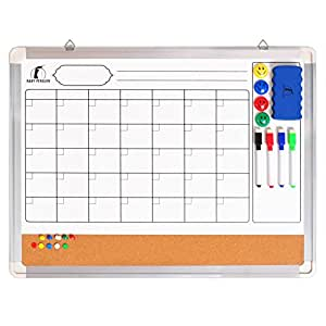 whiteboard wandkalender set monatskalender magnettafel korkwand 60 x 45 cm 1 magnetischer. Black Bedroom Furniture Sets. Home Design Ideas