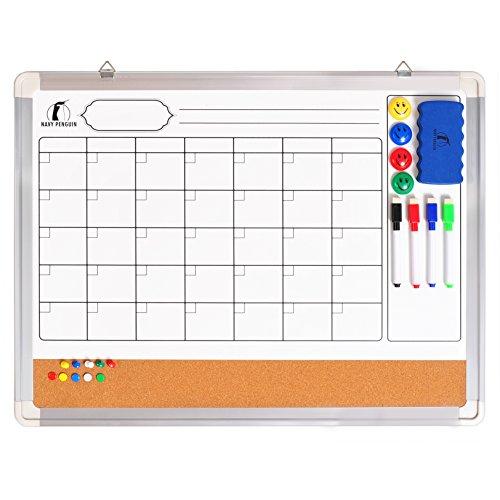 Whiteboard Wandkalender Set - Monatskalender Magnettafel / Korkwand 60 x 45 cm + 1 magnetischer Radierer, 4 bunte Marker, 4 Magneten und 10 Reißnägel - Kleine Monatsplaner Whiteboard Pinwand Kalender