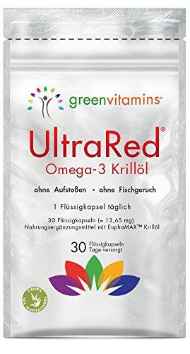 Krillöl Omega 3 Kapseln - Super Omega-3 fürs Herz einzigartig mit EuphaMAX Krill öl. EPA und DHA Fettsäuren aus der Antarktis. UltraRed - 1 x 30 Omega-3 Krilloel Kapseln von greenvitamins (Vitamin C In Fisch)