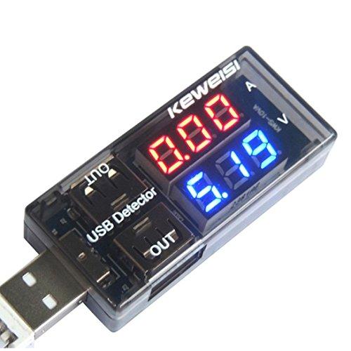 Bescita USB Digitale Amperemeter Digitale Voltmeters Leistungsmesser, für Stromstärke+Spannung der Geräte mit LED Anzeige