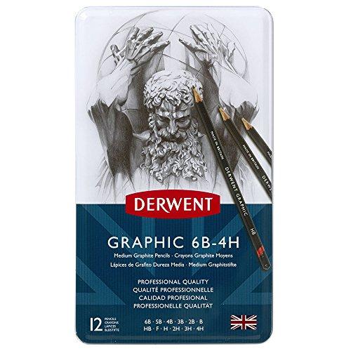 Derwent confezione da 12 matite di grafite da 6b a 4h in scatola di metallo