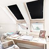 KINLO Rollo Dachfenster Schwarz 38x75cm(BxL) TOP Qualität Verdunkelungsrollo für Dachfenster Hitzeschutz aus 100% Polyesterfasern Dachfensterplissee ohne Bohren Thermorollo für Verlux mit Krafthaftsaugern