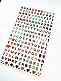 Small Coloured 3D Alphabet Letter Stickers, Self-Adhesive Labels for Childrens Craft & Card