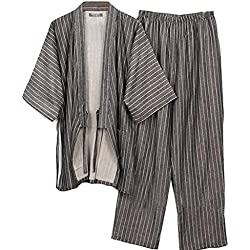 Trajes de Estilo japonés de los Hombres Traje de Pijama de algodón Puro Kimono Bata Set-A1