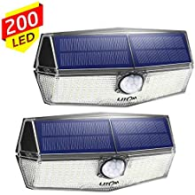 200 LED Solar Lights Outdoor, LITOM Motion Sensor Security Light with 3 Lighting Modes, 270°Wide Angle, IPX7 Waterproof Durable Solar Wall Lights for Front Door, Yard, Garage, Fence, Deck(2 Pack)