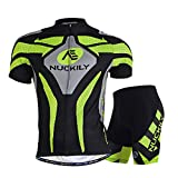 Comfortable Men Short Sleeve Jersey + Padded Shorts Cycling Suit Clothing Set Riding Sportswear - Green (XXXL)