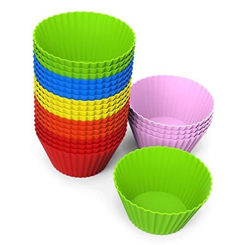 EXVI 24 Stück Silikon Backformen Runde der Cupcake Muffin Formen, sechs lebendige Farben (Waffel Cup Maker)