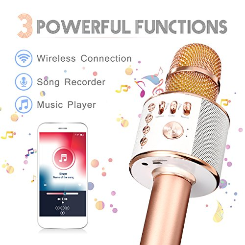 Wireless Karaoke Microphone, NASUM 3-in-1 Wireless Bluetooth Karaoke Recoding Microphone and Speaker, for Singging, Karaoke, Recording,Music Playing, for PC/ Phone, Android /IOS, Red (Rose Gold)