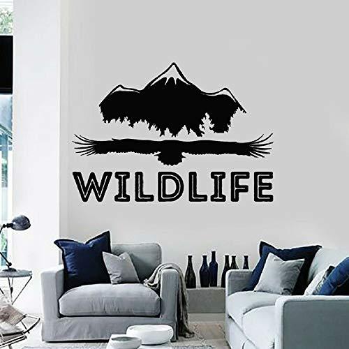 JXGG Wilde Tier Wandtattoos Adler Berg frei natürliche Abenteuer Vinyl Fenster Aufkleber Wohnzimmer Menschen Höhle Hauptdekoration Kunst 42x60 cm