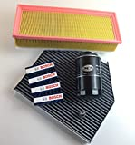 Inspektionsset Filter Set Ölfilter Luftfilter Innenraumfilter mit Aktivkohle + 4 Zündkerze nur 118KW/160PS