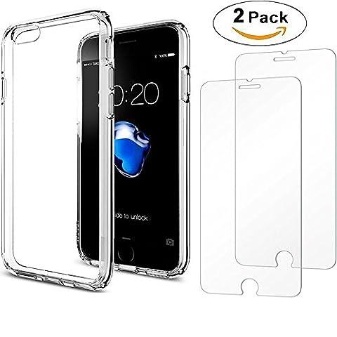 iPhone 7 Fall und 2er Pack Glas Displayschutzfolie, AEDILYS Crystal Clear PC Rückseite TPU Bumper [Drop Schutz/Shock Absorption Technology] erhöhte um Schutzhülle für Apple iPhone