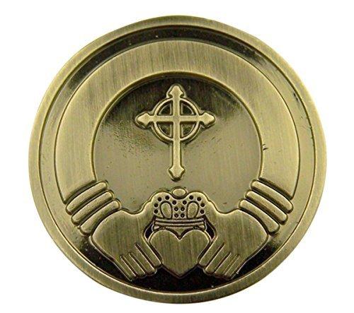 Silber Ton originalgetreue Displayschutzfolie Pocket Token mit Gebet Claddagh-Ring Silber (Männer Und Frauen Claddagh-ring)