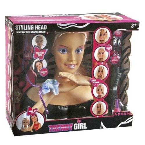 Trendy girl - cabeza para peinar con accesorios de peluquería y maquillaje