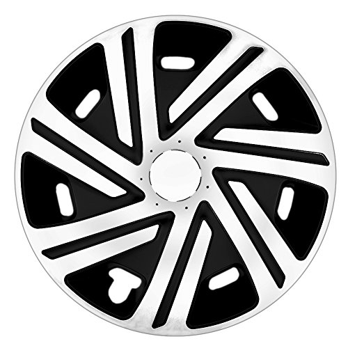 CM DESIGN 14 Zoll Bicolor Radzierblenden CYRKON (Weiss/Schwarz). Radkappen passend für Fast alle Ford wie z.B. KA 1 RBT