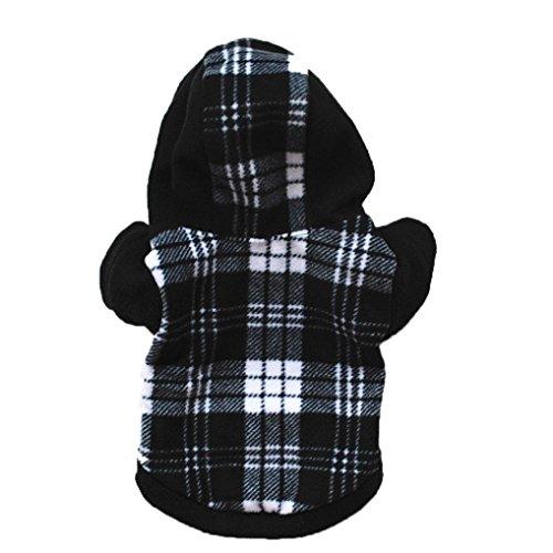 Linlink Herbst und Winter Welpen Haustier Kapuzen Hoodie, Weich und Bequem Süße Mode Plus Samt Top, Klassische Plaid-Muster Warmen Stehkragen Pullover
