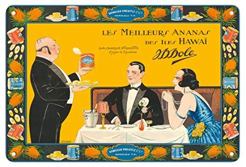 Pacifica Island Art Poster, Motiv Dole Hawaii - The Best Ananas (Les Meilleurs Ananas) - Vintage Werbeplakat von Fernand Couderc c.1925 - Fine Art Print 8 x 12 in Tin Sign Mehrfarbig -