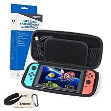 Nintendo Switch Tasche, MIBOTE Case Reiseetui Tasche (Slim Version) mit Netztasche und Reißverschluss - Wasserabweisend in Schwarz