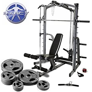marcy platinum smith machine home gym weight bench with 90kg olympic weight set. Black Bedroom Furniture Sets. Home Design Ideas