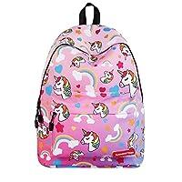 Kids Unicorn Backpack, Children Rainbow Printed Shoulder Bag Schoolbag Bookbag, Cute Laptop Storage Bag for Girl Teen Student Travel & Outdoor Sports