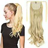 "18"" Queue de Cheval Postiche Extension de Cheveux (Attachée par bandeau) Ondulé - Wrap Around Tie Binding Ponytail Extensions - Blond Cendré (45cm)"