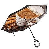Ombrello rovesciato doppio strato con manico a forma di C, ombrelli per donne con protezione UV Caffè al latte speziato antivento-cannella