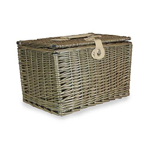 Red Hamper Unisex Antique Wash Finish Rectangle Picnic Basket, Brown, Large