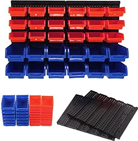 30 Wall Mounted Storage Small Parts Garage Organizer - Red and Blue