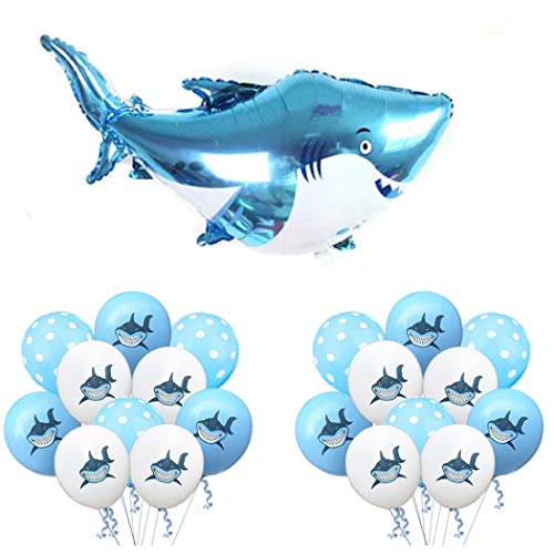 Yezide shark ocean tema decorazione del partito big shark foil balloon, dot palloncini in lattice per baby shower bambini birthday party supplies favori 21pcs