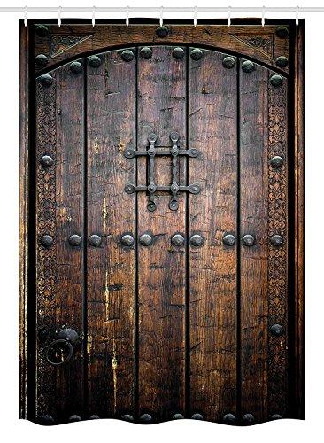 Yeuss Decoración de Estilo rústico Cortina de Ducha, Puerta de Madera Antigua Histórico Vintage Exterior Estructura Medieval Impresión artística
