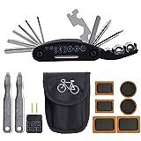 BUZIFU Kit Riparazioni Bicicletta 16 in 1 Attrezzi Bici Set Multifunzione con Toppe Preincollate con Pompa Mini Bike per