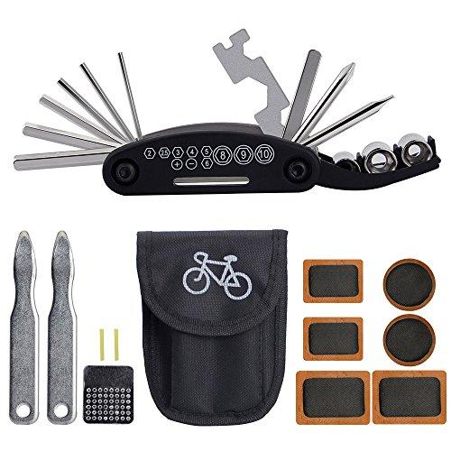 BUZIFU 16 en 1 Herramienta multifunción, juego de herramientas de reparación de bicicletas, bicicleta multiherramienta, palanca de neumáticos, parches de bicicleta