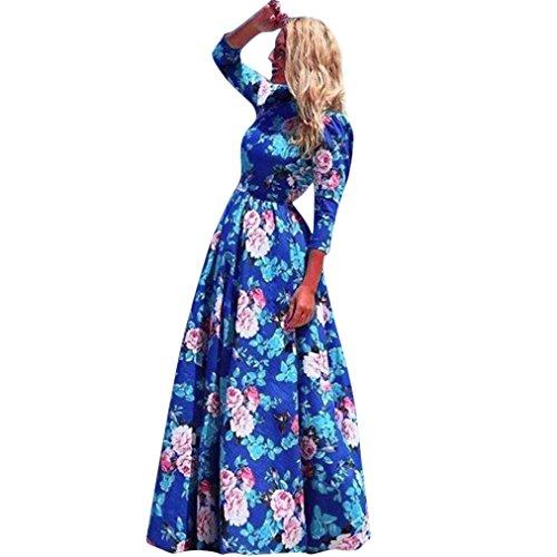Damen Maxi-Kleid, Boho Floral Graceful Sundress Half Sleeve Abend Empire Lange Kleid axchongery Cape Cod 2XL Mehrfarbig - Empire-taille Georgette Kleid