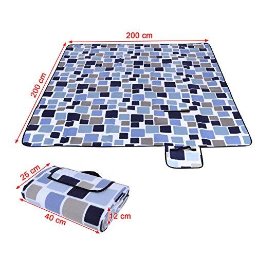 Songmics 200 x 200 cm XXL Picknickdecke Fleece wasserdicht - 3