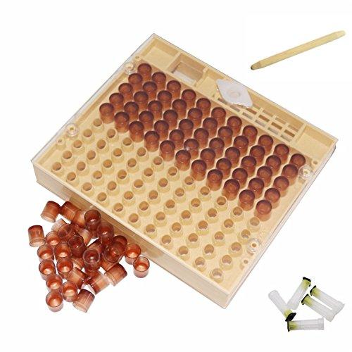 Janolia Bee Queen Aufzucht Cup Kit System, Biene Bienenzucht Käfig Bee Keeper Tools Bienenzucht Box Set, 110Zelle Tassen Werkzeug Set - Queen-kit