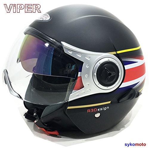 VIPER RS V18 OFFENES GESICHT JET PILOT CHOPPER RETRO MOTORRAD BOBBER VINTAGE BRITISCH UNION JACK FLAGGE HELM (S (55-56 CM)) (Vintage Motorräder Britische)