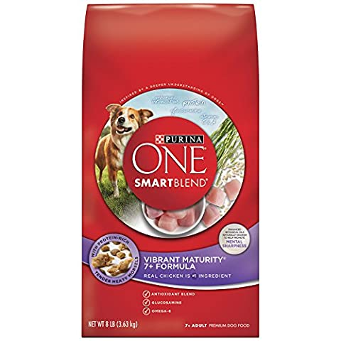 Purina ONE SmartBlend Dry Dog Food, Vibrant Maturity 7+ Formula, 8-Pound Bag, Pack of 1