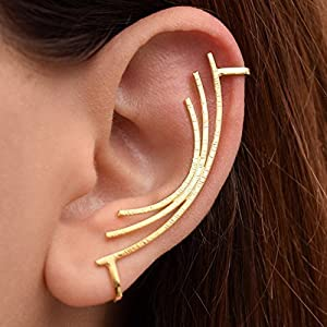 Gold ohrmanschette kein Piercing aus sterling silber, handgemachter Schmuck von Emmanuela, Ohr Stulpeohrring nicht…
