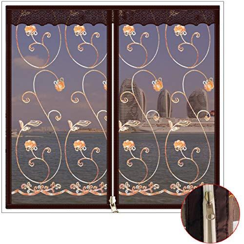 Selbstklebend Fensterbildschirm Netting Mesh-vorhang,Gestickt Reißverschluss Full frame Magic tape Windproof Fenster-netting-moskitonetz-B 60X120cm(24x47inch)