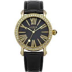 Lipsy LP101 Black Leather Strap Watch